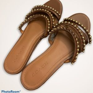 Coach Sandals flat/ stone accents /8 size